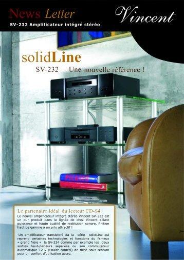 Newsletter Vincent SV-232 Amplificateur intégré transistoré