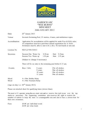 "GARIOCH ASC ""WEE BURNS"" MINI MEET - Swim Scotland"