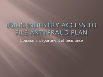 Using Industry Access - Louisiana Department of Insurance