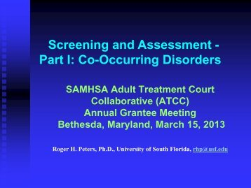 Part I: Co-Occurring Disorders - SAMHSA'S GAINS Center for ...