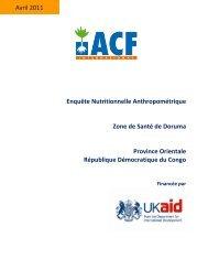 Enquête Nutritionnelle Anthropométrique Zone de Santé de Doruma ...