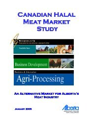Canadian Halal Meat Market Study - Agriculture and Rural ...