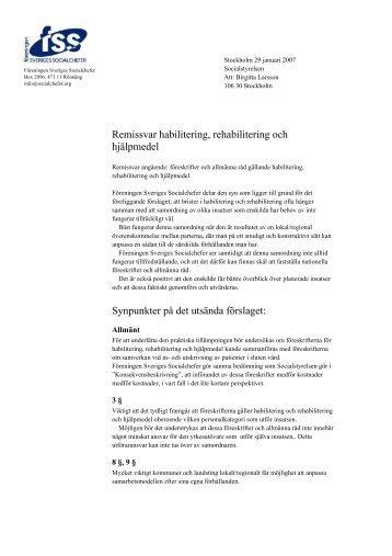 FSS yttrande 29 januari 2007 - Föreningen Sveriges Socialchefer