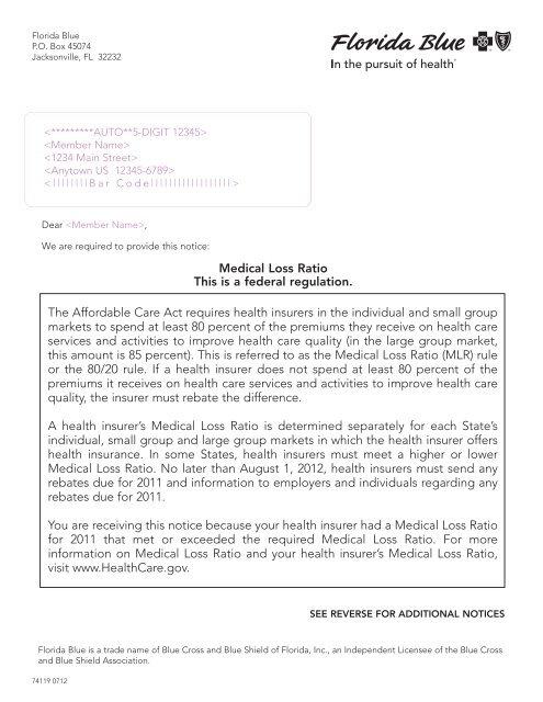 Non-Rebate Sample Notice for IU65 Subscriber (PDF) - Florida Blue