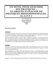 le groupe d'analyse de pratiques professionnelles. (gapp)