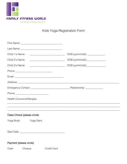 Kids Yoga Registration Form Family Fitness World