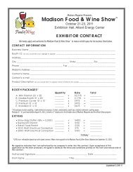 Download the Madison Food & Wine Show Exhibitor Contract