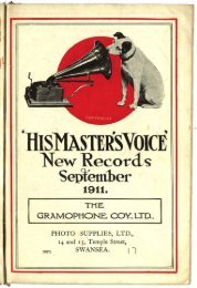 His Master's Voice New Gramophone Records September 1911