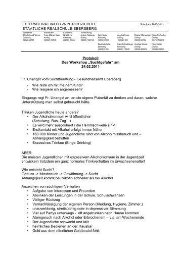 "Protokoll Des Workshop ""Suchtgefahr"" - Realschule Ebersberg"