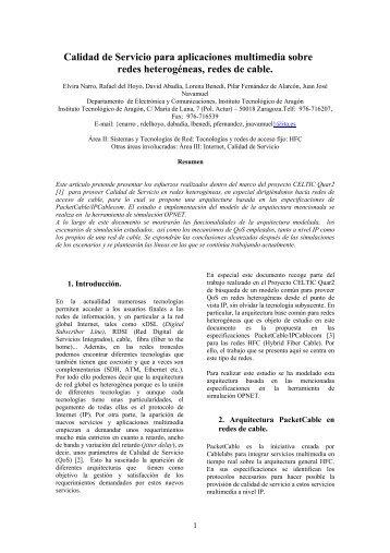 Calidad de Servicio en aplicaciones multimedia sobre redes de ...