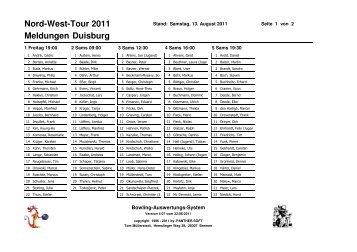 Meldungen Duisburg Nord-West-Tour 2011