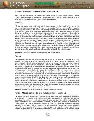 CURRENT STATUS OF HERBICIDE ... - Mercosoja 2011