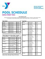 POOL SCHEDULE - Maple Street YMCA