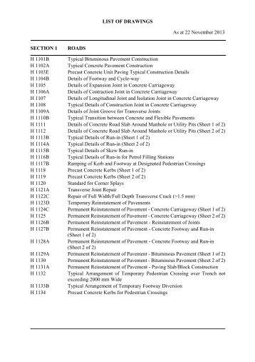 List of Standard Drawing