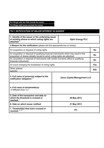 TR-1 Notification of Major Interest in Shares - Ophir Energy