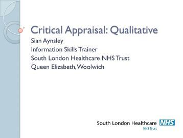 critical appraisal qualitative research nursing Teaching critical appraisal skills for nursing research  for critical appraisal of published research  appraisal of qualitative research.