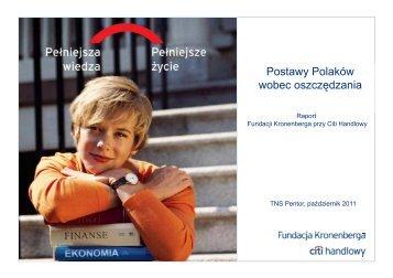 Postawy Polaków y wobec oszczędzania - Citibank Handlowy