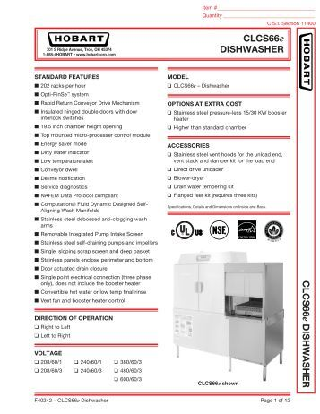 Hobart dishwasher Parts Manual scematic