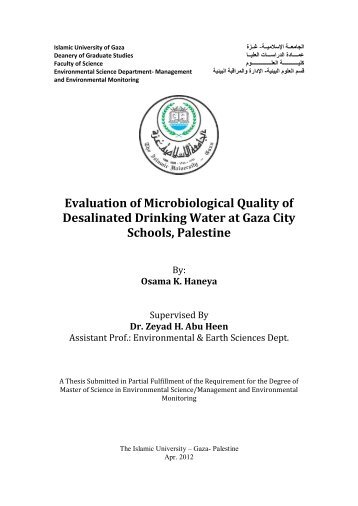 Evaluation of Microbiological Quality of Desalinated Drinking Water ...