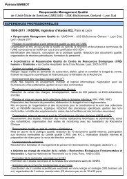 CV de Patricia Barbot - BioSciences Gerland - Lyon Sud