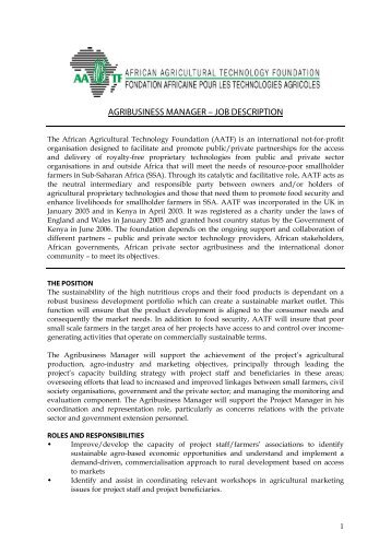 agribusiness manager – job description - African Agricultural ...