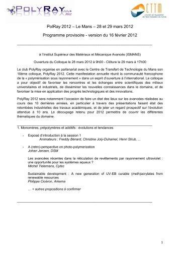 PolRay 2012 - Groupe Français d études et d applications des ...