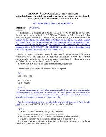 ORDONANŢĂ DE URGENŢĂ nr. 34 din 19 aprilie ... - Nuclearelectrica