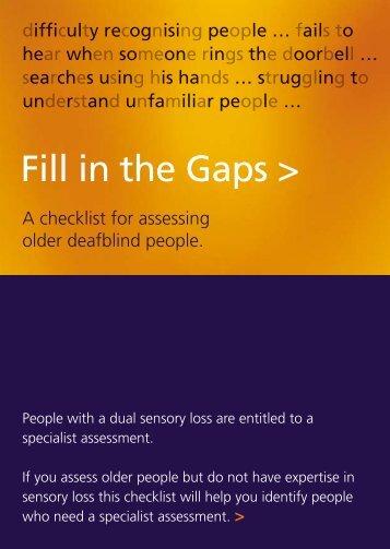 Fill in the Gaps: A checklist for assessing older deafblind ... - Sense