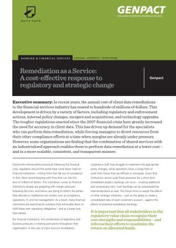Remediation as a Service: A cost-effective response to ... - Genpact