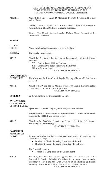 February 13, 2012-Council Minutes.pdf - Town of Barrhead