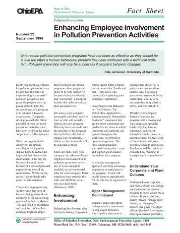 Enhancing Employee Involvement in Pollution Prevention Activities