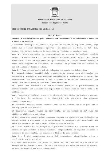 Atos Oficiais publicados em 14/06/2013 - Prefeitura de Vitória