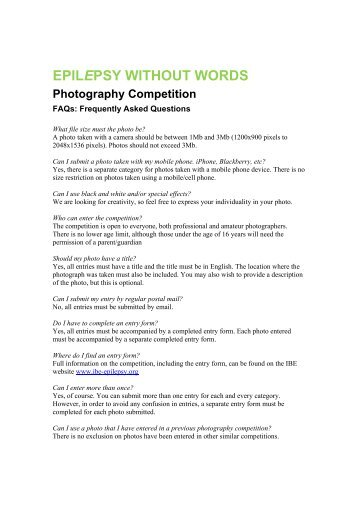 EPILEPSY WITHOUT WORDS Photography Competition