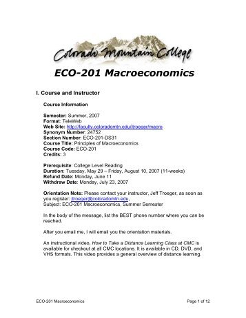 ECO-201 Macroeconomics Syllabus - Colorado Mountain College