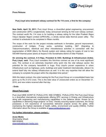 Press Release - Punj Lloyd Group