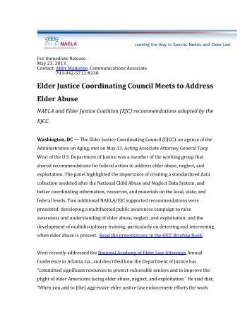 Elder Justice Coordinating Council Meets to Address Elder Abuse