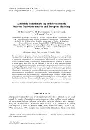 A possible evolutionary lag in the relationship between freshwater ...