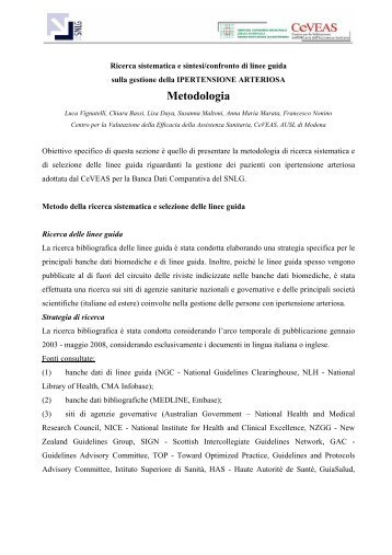 Metodologia - Sistema Nazionale Linee Guida
