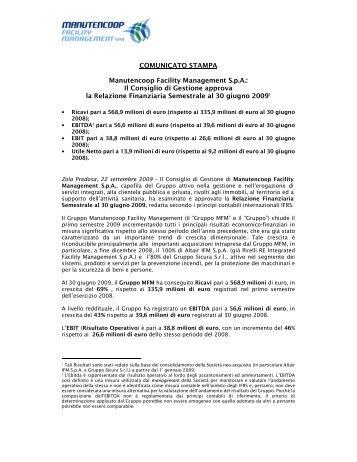 Comunicato Stampa Risultati Primo Semestre 2009 - Manutencoop