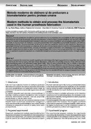 Metode moderne de obţinere şi de prelucrare a biomaterialelor ...