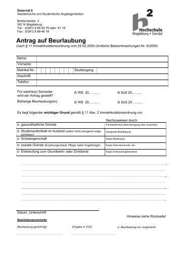 Antrag auf Beurlaubung - Hochschule Magdeburg-Stendal