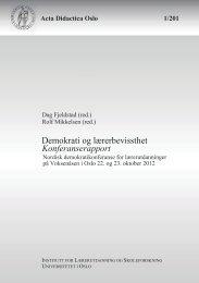 Demokrati og lærerbevissthet Konferanserapport - Universitetet i Oslo