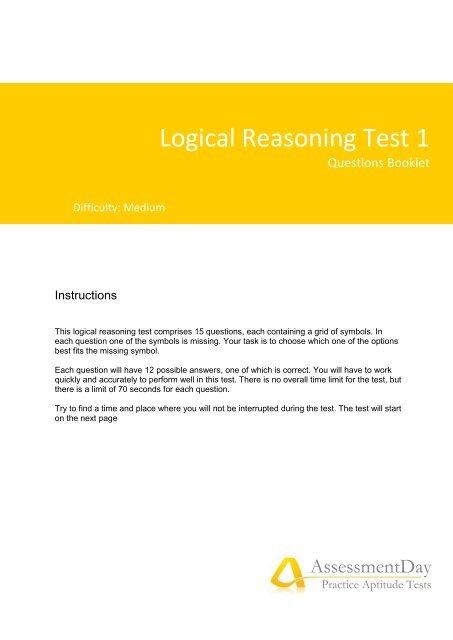 Logical Reasoning Test 1 - Aptitude Test