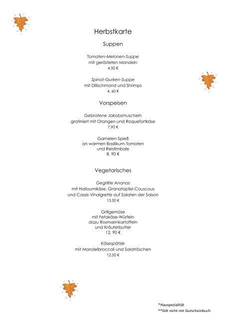 Speisekarte Herbst 2012 - Landhotel Kern