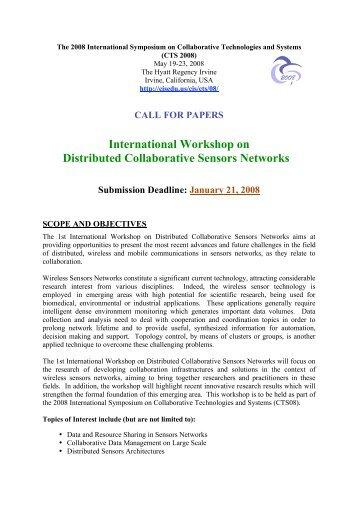 International Workshop on Distributed Collaborative Sensors Networks