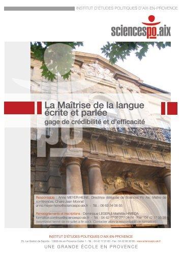 La Maîtrise de la langue écrite et parlée - Sciences Po Aix