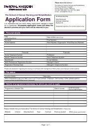 Application Form - The Royal Marsden