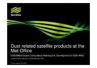 Dust related satellite products at the Met Office - ESA