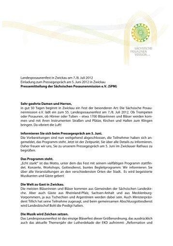 Einladung zum Pressegespräch - Sächsische Posaunenmission eV
