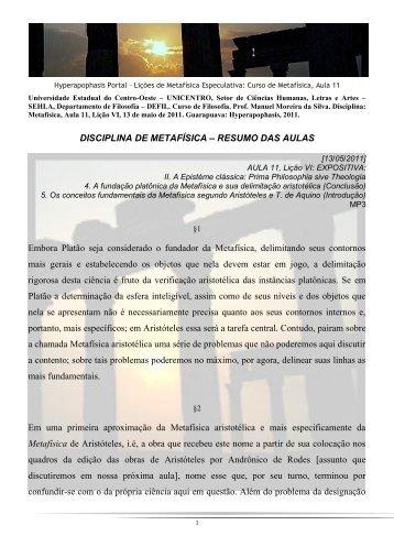 DISCIPLINA DE METAFÍSICA – RESUMO DAS AULAS Embora ...